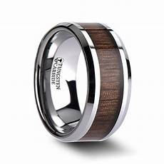 woodlawn beveled tungsten carbide ring with black walnut inlay wedding bands hq