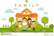 Neues Family - set of four family members posing together in flat style