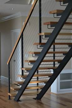 treppe stahl holz stringer steel staircases with wood treads in nyc