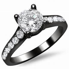 14k black gold 1 1 8ct tdw pave diamond engagement ring f g vs1 vs2 overstock