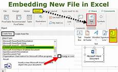 embedding file in excel how to insert an object in excel