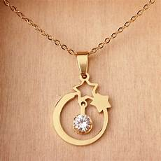 new design product stainless steel gold star necklace with cz two five point stars pendant