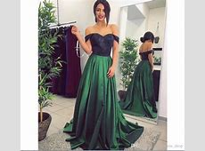 2019 New Cheap Hunter Green Prom Dresses A Line Off The