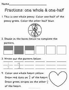 fractions one whole one half review worksheet practice fractions math fractions preschool