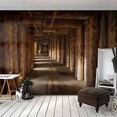 Vlies Fototapete Holz Tunnel Braun 3d Effekt Tapete