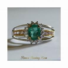 Cincin Wanita Zamrud Hijau Silver 925 Ring 7 5 Us