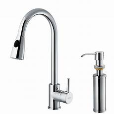 kitchen faucet with pull sprayer vigo single handle pull out sprayer kitchen faucet with soap dispenser in chrome vg02005chk2