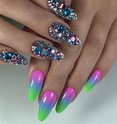bright acrylic nail design 2017