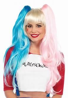 harley quinn pruik blond roze en blauw verkleedkleding