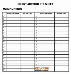 16 silent auction bid sheet templates free sle templates