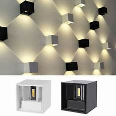 modern led wall light up down cube sconce lighting l ip65 12w waterproof ebay