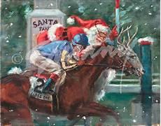 christmas cards of santa racing santa