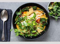 aubergine  eggplant  and broccoli laksa image