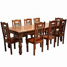 rustic furniture solid wood large dining table 8 chair set
