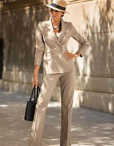 trouser suit in the color light taupe melange taupe in