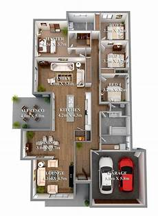 Arbeitsle Garage 4 bedroom 3d home floor plans with garage design lindi