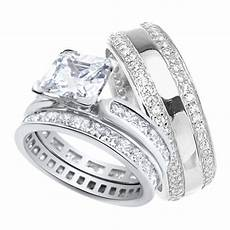 his and hers wedding ring matching sterling silver