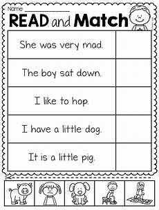 reading worksheets for kindergarten 18445 read and match worksheet pack kindergarten reading kindergarten writing reading