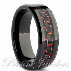 black tungsten carbide men s jewelry red carbon fiber