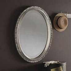 silver oval wall mirror 48x38cm exclusive mirrors