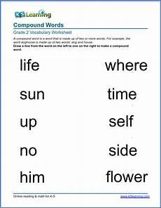 grade 2 vocabulary worksheet compound words k5 learning