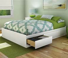 platform bed frame full size with 3 storage drawers wood
