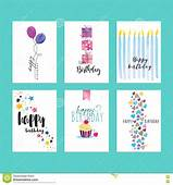 Set Of Birthday Greeting Card Templates Stock Vector