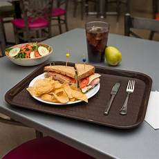 carlisle ct141869 customizable cafe 14 quot x 18 quot chocolate brown standard plastic fast food tray