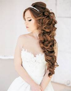 curly half up half down wedding hairstyle