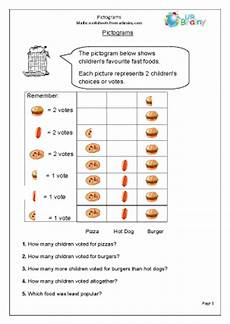 pictograms statistics handling data maths worksheets for year 3 age 7 8