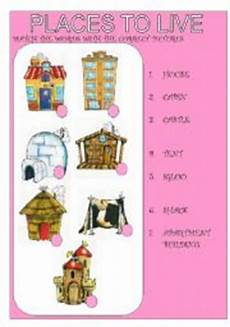 worksheets for places to live 15996 worksheets places to live of houses
