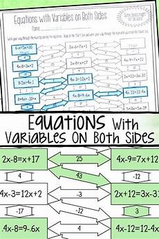 algebra worksheets variables on both sides 8615 solving equations with variables on both sides maze worksheet solving equations solving