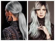 couleur cheveux gris argenté balayage gris bleu