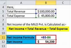 net income formula calculator with excel template