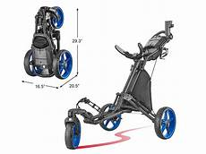 one click folding 3 wheel golf push cart with swivel front