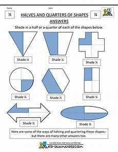 shapes in half worksheets 1140 fraction shape worksheets