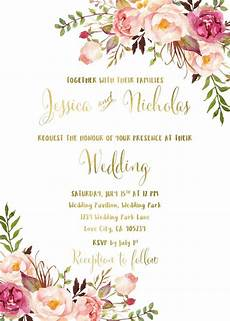 printable wedding invitation suite deer antler pink floral 15 27 floral wedding invitation suite printable boho