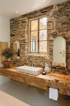 Wellness Badezimmer Ideen - waschtisch aus holz unbehandelt aufsatzwaschbecken