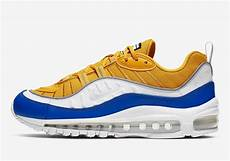 nike air max 98 yellow white blue at6640 700 release info