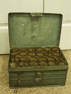 vintage metal storage box with pin lock sectioned cylinder