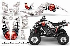 yamaha raptor 660 atv graphics checkered skull