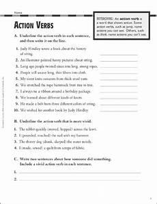 action verbs grammar practice grade 4 printable test