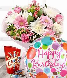 birthday flowers gift set including balloon and chocolates