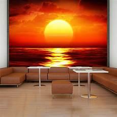 Rote Tapeten Wandgestaltung - sunset wall mural seascape photo wallpaper