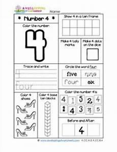 number worksheets for kindergarten number 4 worksheet