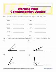 working with complementary angles 7th grade geometry worksheets