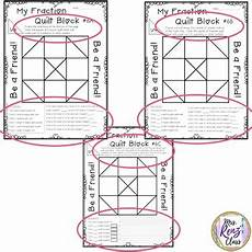 fraction quilts worksheets 4073 math fraction quilt block with a character traits focus freebie grades 3 5