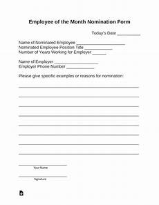 employee of the month nomination form template free employee of the month nomination form pdf word eforms free fillable forms