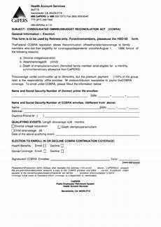 cobra election form calpers printable pdf download