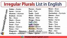irregular plurals list in english materials for learning